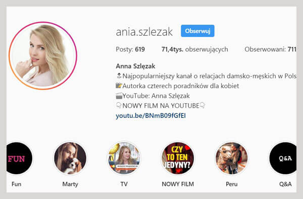 ania szlezak konto na instagramie