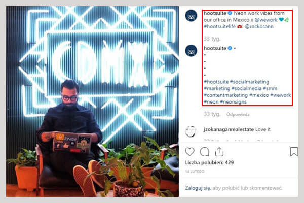 Hootsuite hashtag na instagramie
