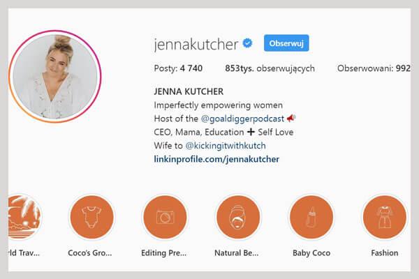 Jennakutcher konto na instagramie