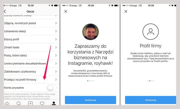 profil biznesowy instagram