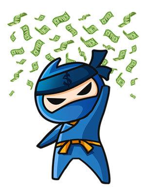 ninja spadające pieniądze