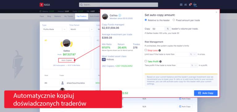 automatycznie kopiuj doswiadczonych traderow